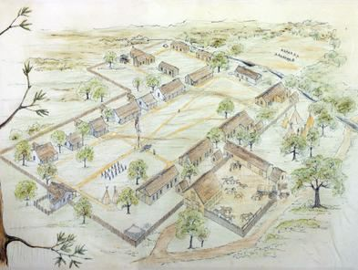 Circa 1970 Illustration of Fort Martin Scott grounds by Fredericksburg architect Gail Galle.