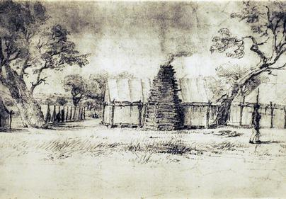 Early drawing of Fort Martin Scott