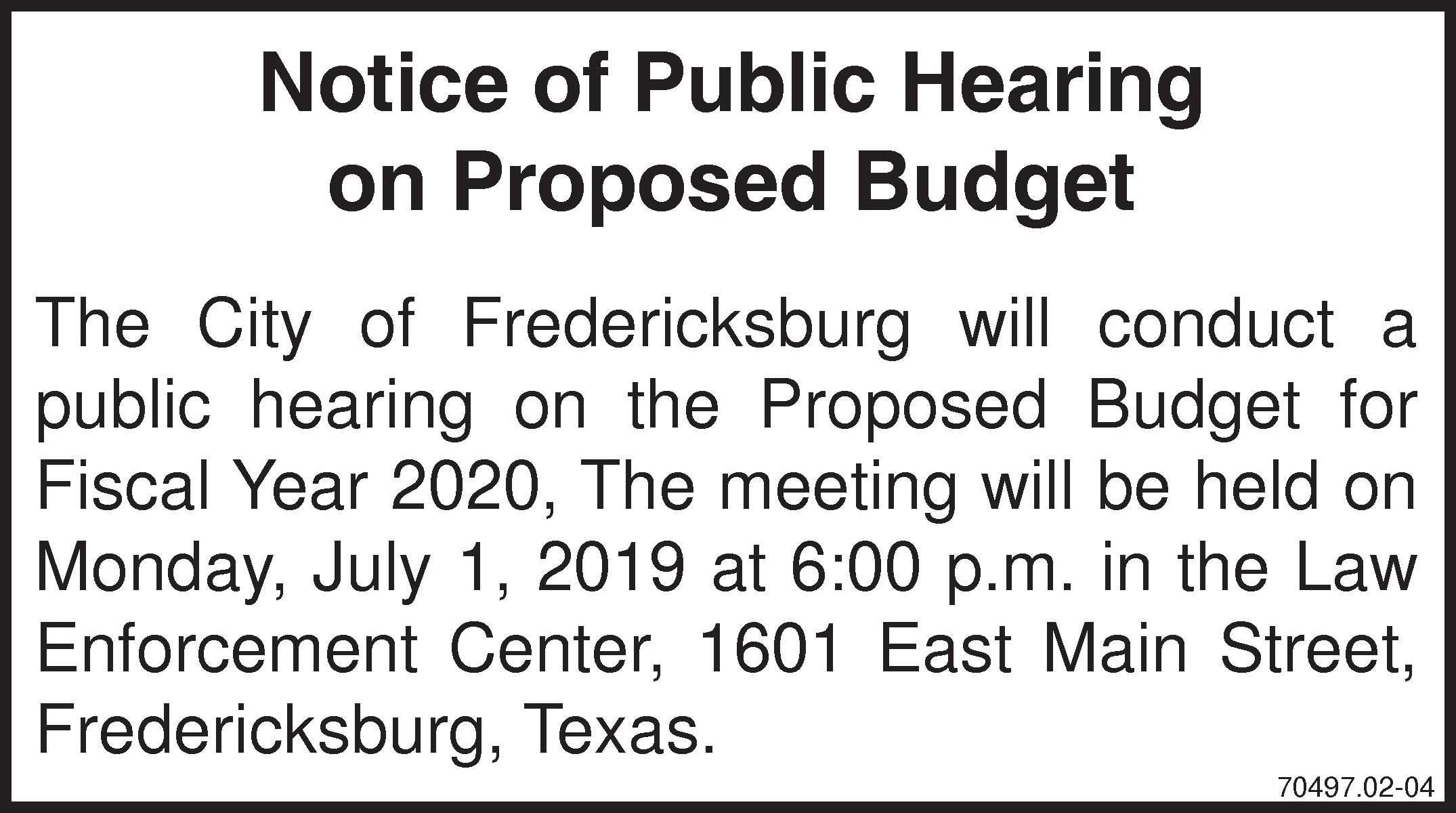Notice of Public Hearing FY2020 Budget