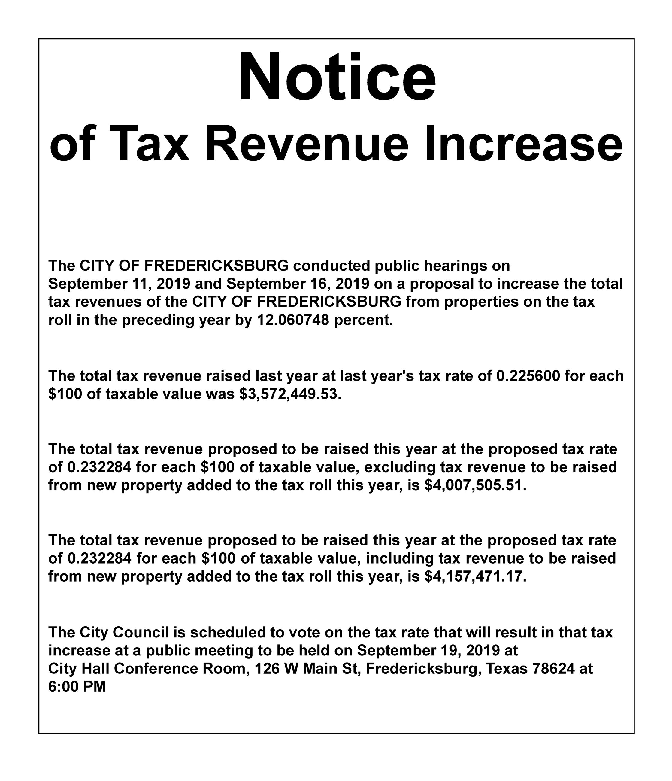 Notice of Tax Revenue Increase - Vote on Tax Rate